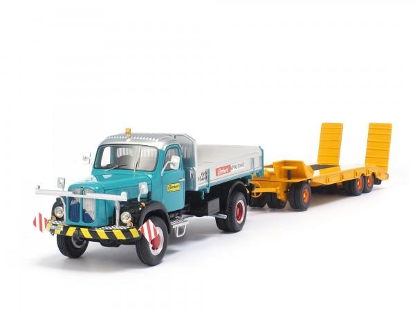 Eberhard Oldtimer-Lastwagen Berna 5VM mit Tiefgänger Winter-Weiss